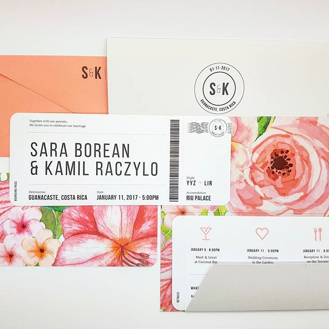 Always a pleasure to work on a collab with a fellow designer! Check out this #tropical inspired boarding pass #invitation to an intimate #wedding in costa rica!