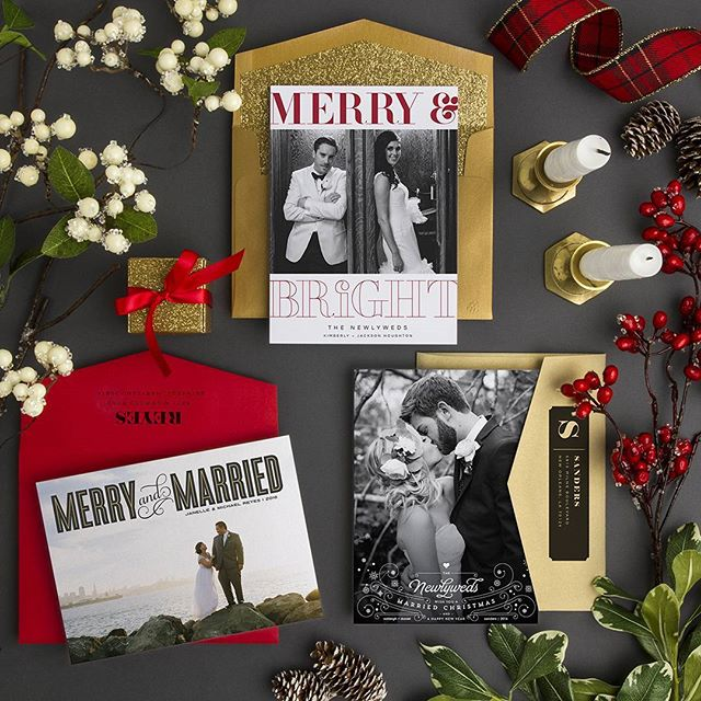 Inject some #holiday spirit into your #wedding thank you cards! These designs are both festive and fun!