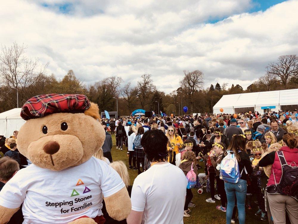 Hamish enjoying the crowds at Kiltwalk 2018