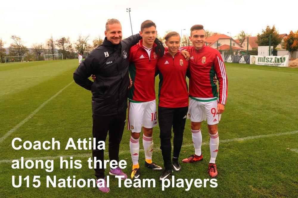 Attila Polyák + U15 Hungarian national team.jpg