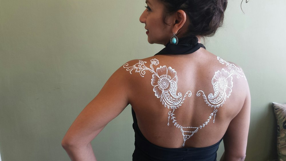 Try out white henna! FDA approved body paint lasting 1-5 days.