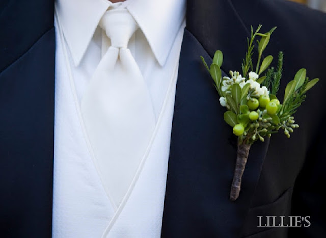 green boutonniere with boxwood, seeded eucalyptus, hypericum berry.jpg