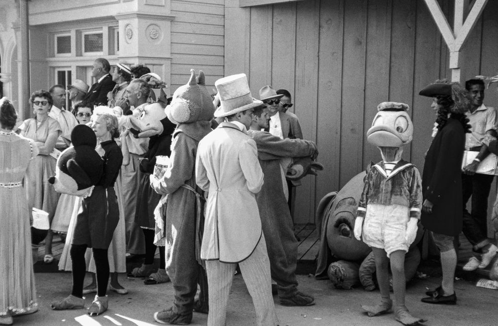 July 17, 1955: Disneyland. Costumed actors prepare for opening parade ( source )