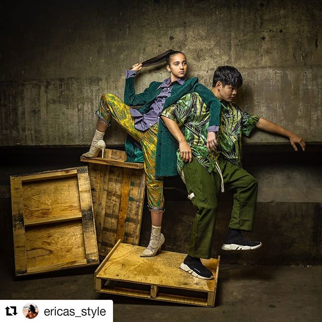 Taking wardrobe styling to the next level @ericas_style ・・・ The Lew-Rice Chronicles.  Photography. @romyyoung.photography  Style. ME Style assist. @gelmigz  Models. @seanlew @kayceericeofficial  Clothing tagged.  #DFYNT #DEFYANT #CLOTHES #stylist #streetwear #funky #merrychristmas #happyhanukkah #fashionstylist #streetfashion