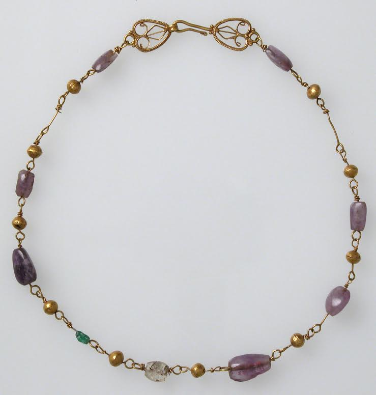 Necklace with amethyst, glass, and gold beads, 6th-7th Century A.D. The Metropolitan Museum of Art, licensed under CC0 1.0