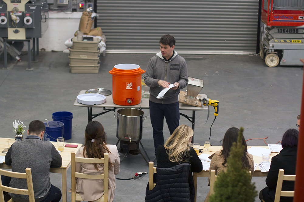 Mike (one of our co-founders) teaching a homebrewing class.
