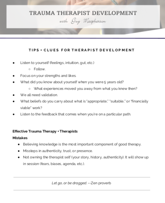 Trauma Therapist Development Plan