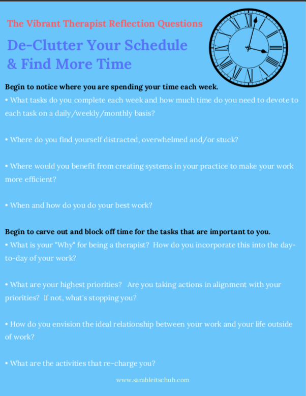 Declutter Your Schedule Reflection Questions, from Sarah