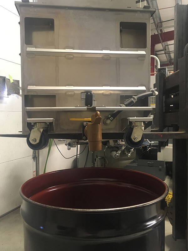Draining of resin