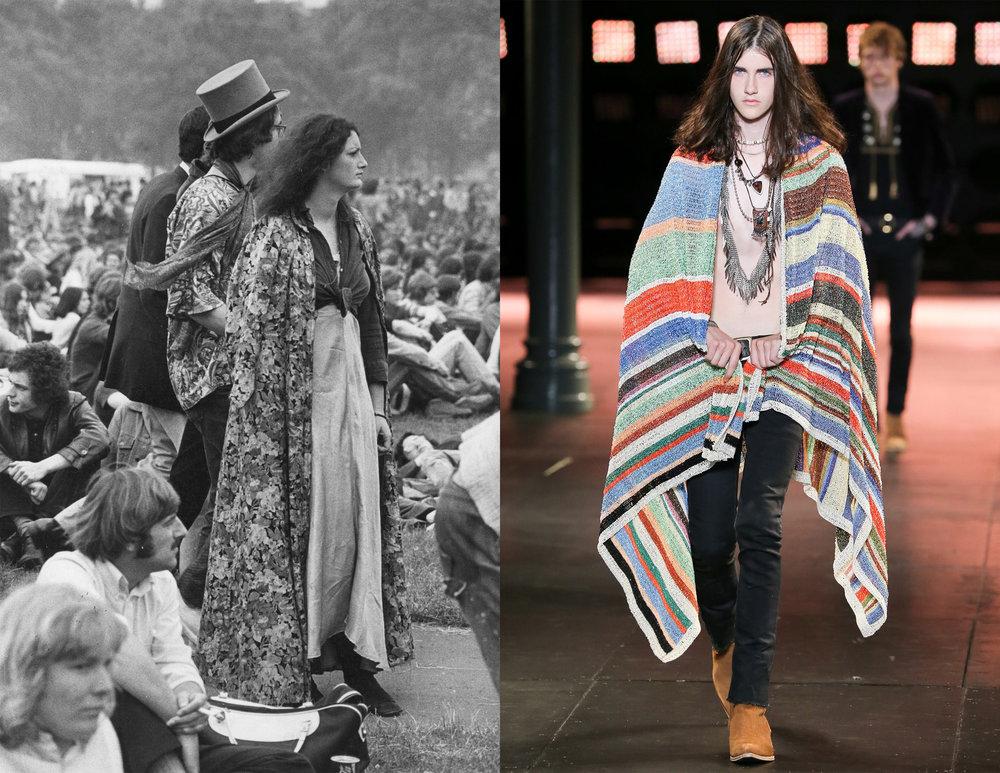 Izq: Hippies en Hyde Park durante un concierto, 1971. Der: Colección SS15 de Saint Laurent por Hedi Slimane
