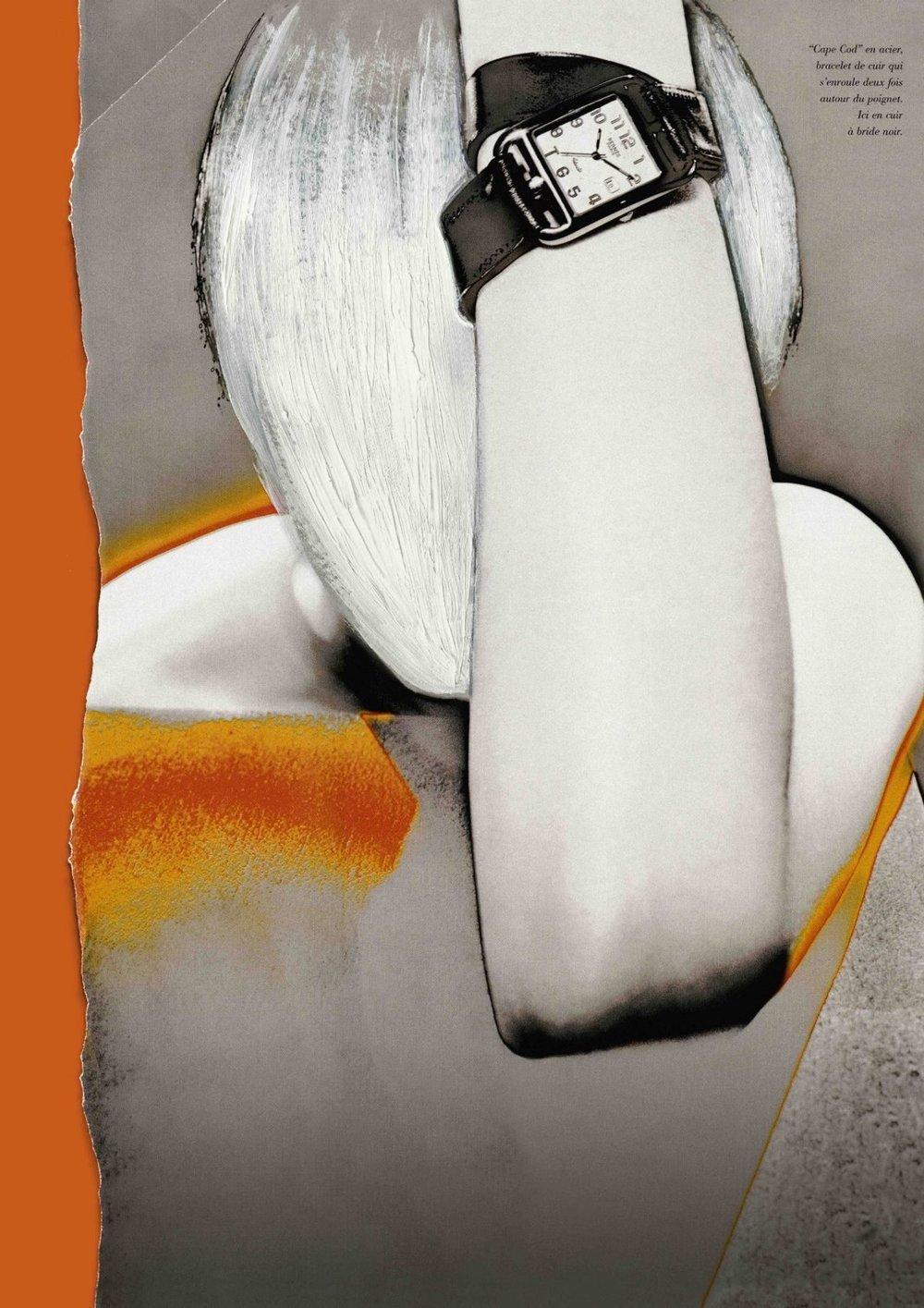 HERMÈS FW 1998 beeld advertentiecampagne overschilderd door Martin Margiela (Cape Cod uurwerk ontworpen door Henri d'Origny en double-tour armband door Martin margiela) - Foto: Thierry Le Goues - grafisch ontwerp Jelle Jespers