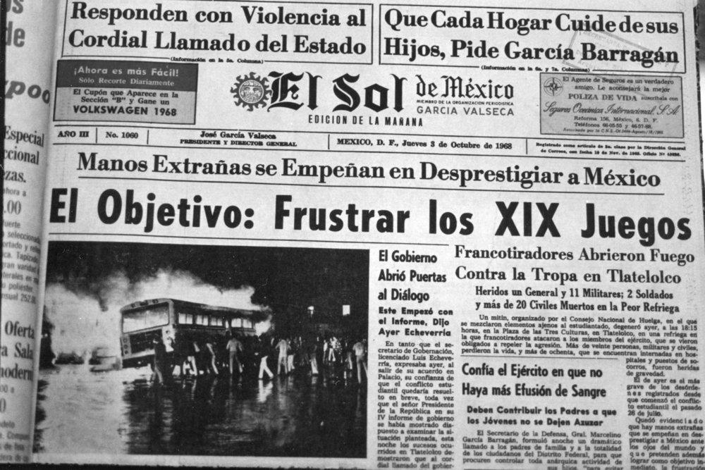 Portada El Sol 3 octubre 1968 vía Forbes México