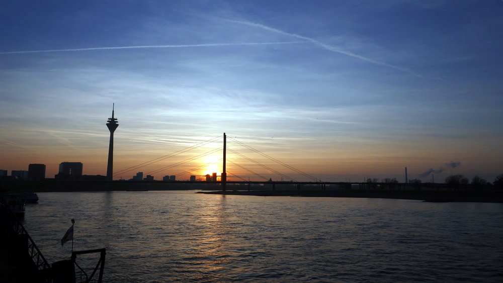 Rhine River Sunset, Dusseldorf, Germany