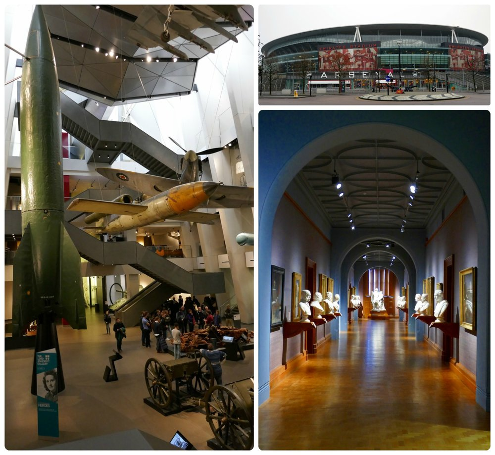 Top, left to right: Imperial War Museum, Arsenal Stadium, National Gallery Museum