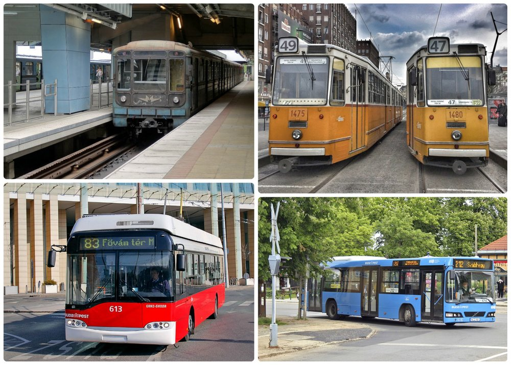 Public Transportation in Budapest, Hungary. Clockwise (from the top left): Metro, Trams, Red Trolley, Bus.
