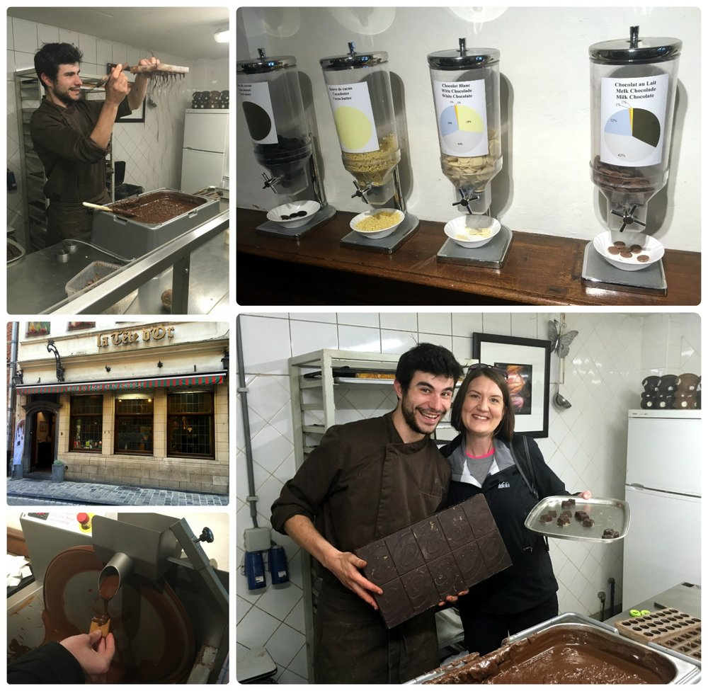 The chocolate experience at Museum of Cocoa and Chocolate in Brussels, Belgium.