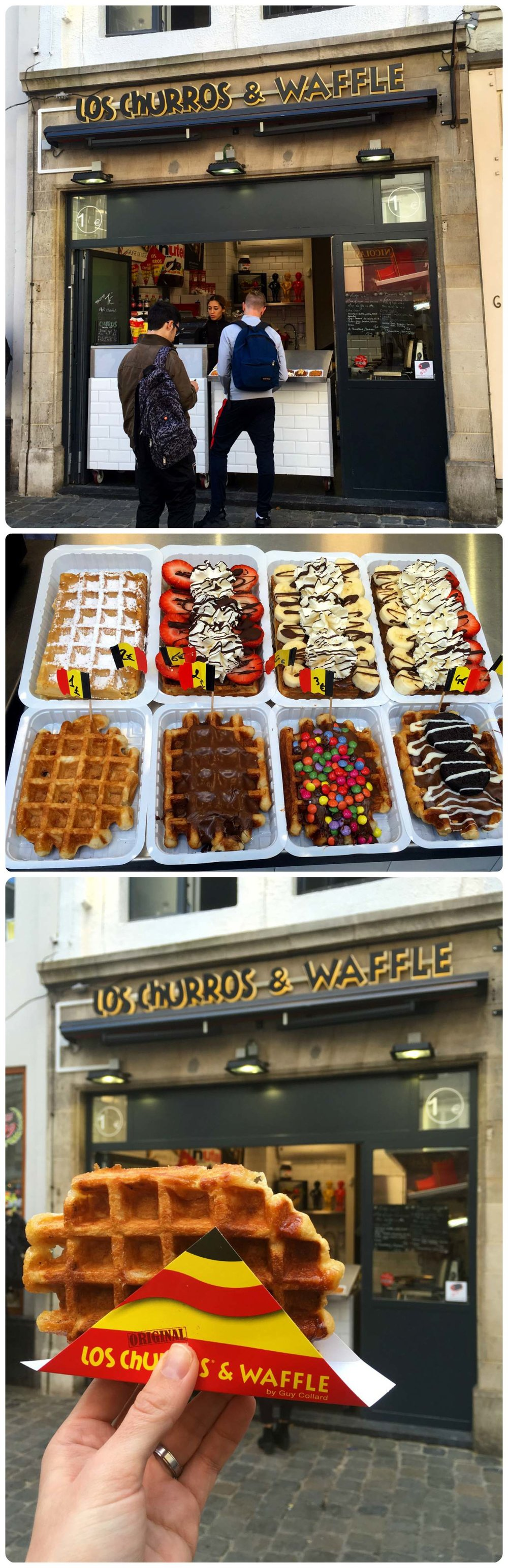 Waffles from Los Churros in Brussels, Belgium.