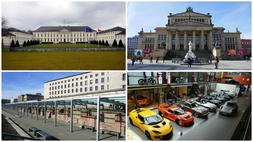 Berlin, Germany. Clockwise (from the top left): Bellevue Palace, Konzerthaus Berlin Concert Hall in Gendermenmarkt, Topography of Terror and the Berlin Wall, Classic Remise.