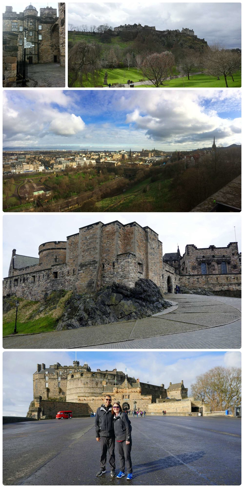 Top to bottom, left to right: Directional sign at Edinburgh Castle, Princess Street Gardens with view of Edinburgh Castle, view of city from the top of the castle, inside the castle, us at Edinburgh Castle.
