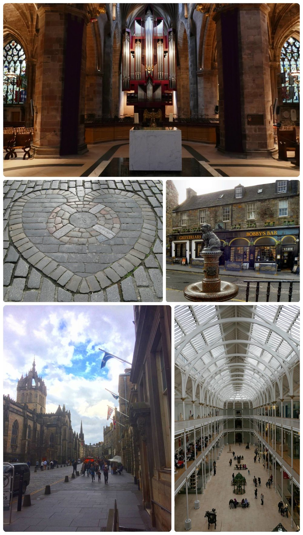 Top to bottom, left to right: Organ in St. Giles' Cathedral, Heart of Midlothian, Greyfriars Bobby Memorial Statue, Royal Mile in front of St. Giles' Cathedral, interior of National Museum of Scotland.