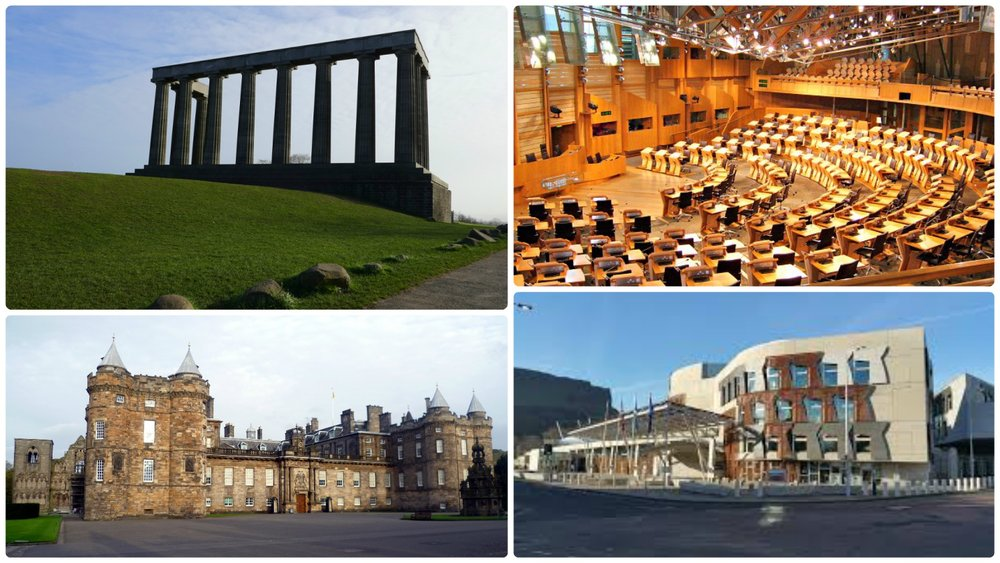 Clockwise: National Monument of Scotland on Calton Hill, Scottish Parliament Hemicycle, Palace of Holyroodhouse, Scottish Parliament building.