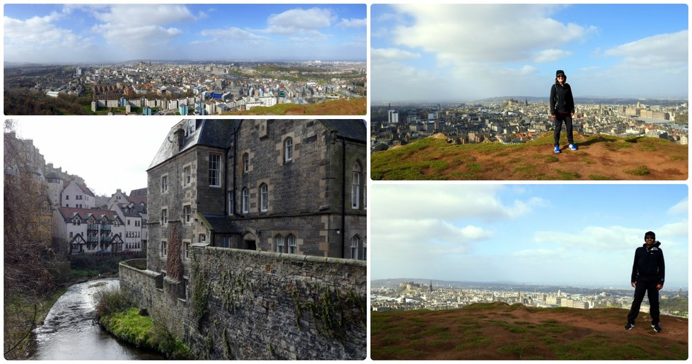Clockwise: View on the hike to Arthur's Seat, Shannon on windy hike to Arthur's Seat, Dean's Village, Sergio on windy hike to Arthur's Seat.