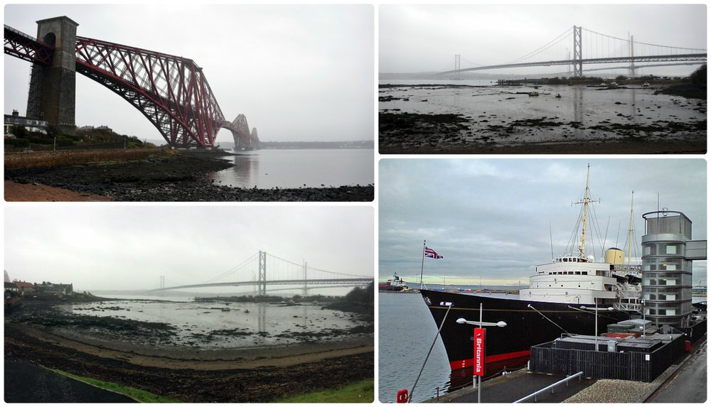 Clockwise: Forth Bridge rail bridge, old and new Forth Bridge, Royal Yacht of Britannia.