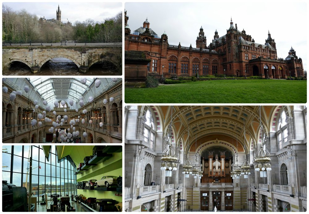 Top, left to right: View of Glasgow University, exterior of Kelvingrove Art Gallery and Museum, exhibit at Kelvingrove Art Gallery and Museum, interior of Kelvingrove Art Gallery and Museum, inside the River Transport Museum.