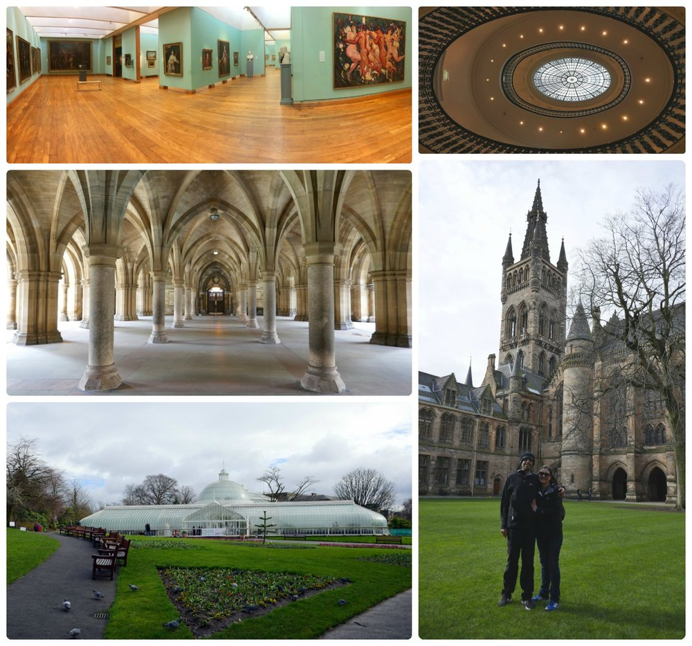 Top, left to right: Huntarian museum, staircase at Glasgow Gallery of Modern Art, cloisters at University of Glasgow, us on Glasgow University campus, Glasgow Botanical Garden