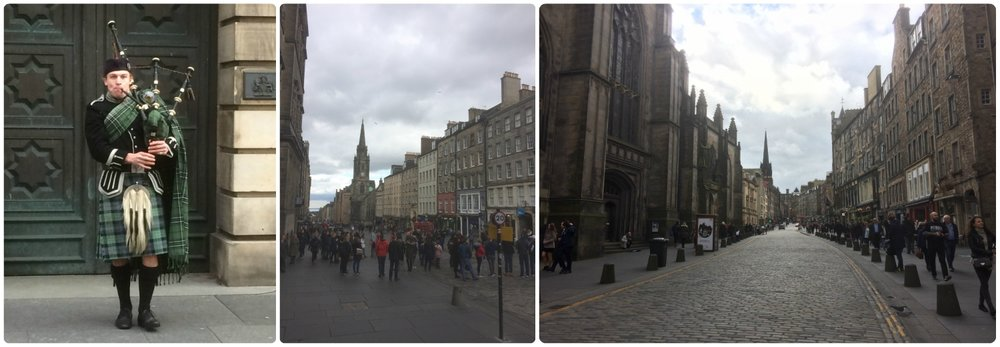 Left to right: Street musician playing the bagpipes, walking up Royal Mile, view of street and building facades.