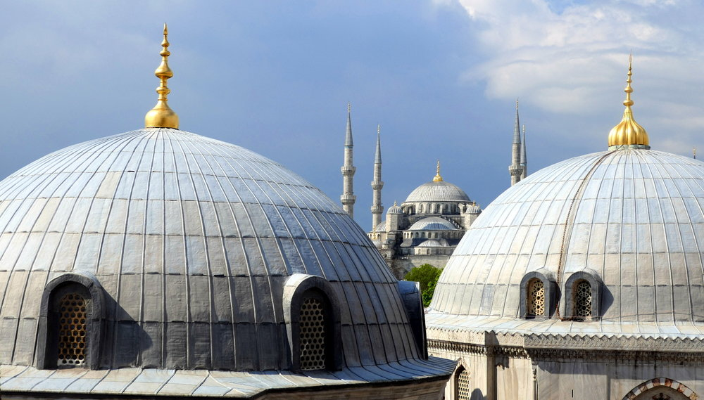 The Sultan Ahmed Mosque (The Blue Mosque) from Hagia Sophia, Istanbul, Turkey