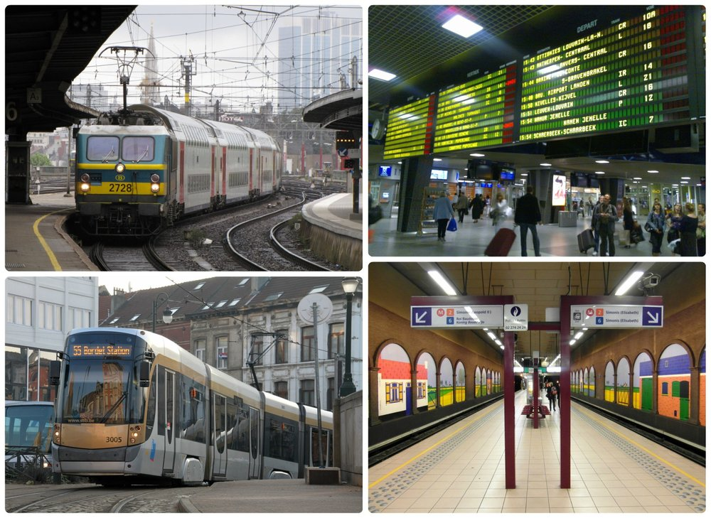 Clockwise: Train station in Brussels, digital sign with train departure times and platform information, metro station in Brussels, tram in Brussels.