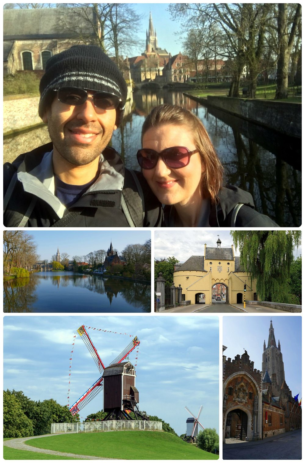 Bruges, Belgium. Clockwise (from the top left): Us on the bridge over the 'Lake of Love' at Minnewaterpark, Smedenpoort Gate, Windmills, view of Church of Our Lady from Nieuwstraat street.