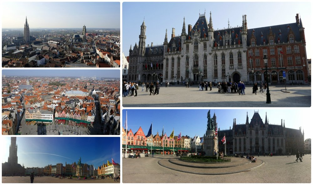 Bruges, Belgium. Clockwise (from the top left): View from the top of Belfry of Bruges, Provinciaal Hof, panorama of Markt square, opposite side panorama of Markt square, view of Markt square from the top of Belfry of Bruges.