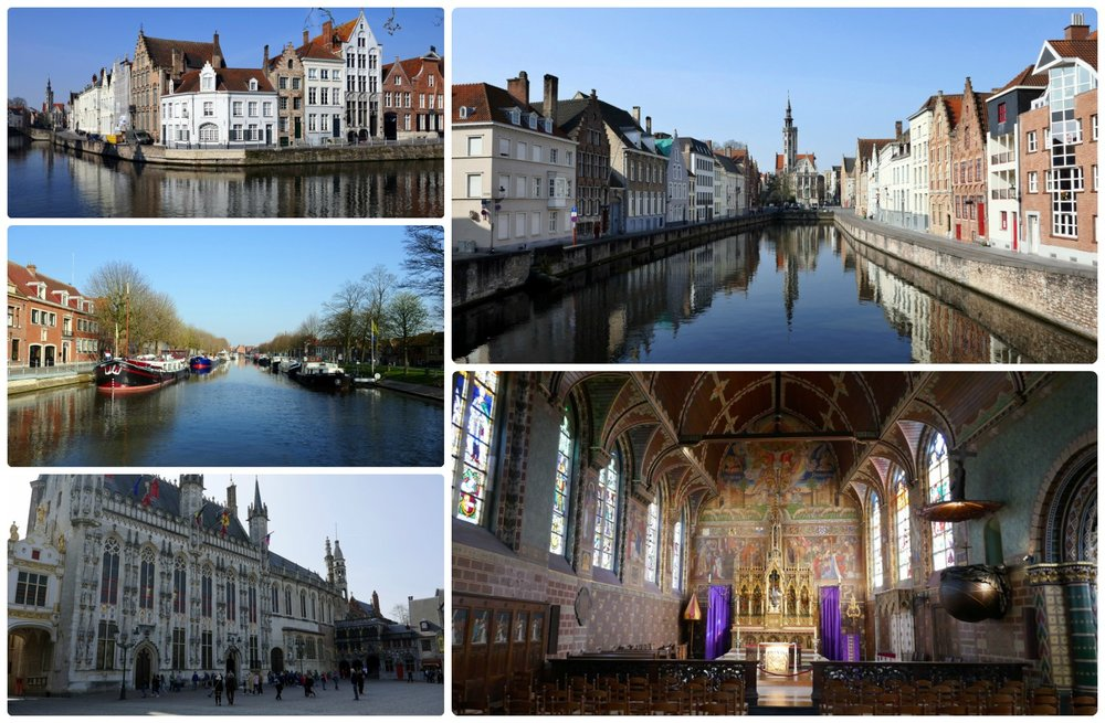 Bruges, Belgium. Clockwise (from the top left): View of intersecting canals, view down the canal towards Jan van Eyck Square ornate interior of Basilica of Holy Blood, Burg Square and city hall, looking down the canal.