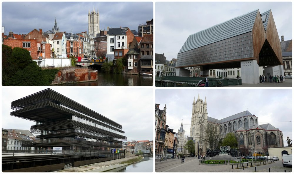 Clockwise: View of the surrounding area at the De Krook Project, Stadshal City Pavilion, St Bavo's Cathedral, De Krook Project.