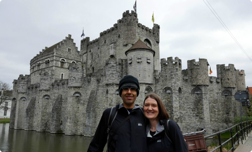 Us, in front of Gravensteen.