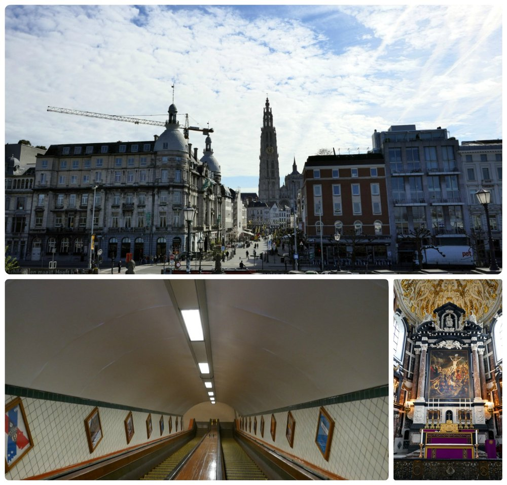 Clockwise: A city view with Cathedral of Our Lady Antwerp, inside St. Carolus Borromeus Church, looking down the wooden escalators in St. Anna's Tunnel.