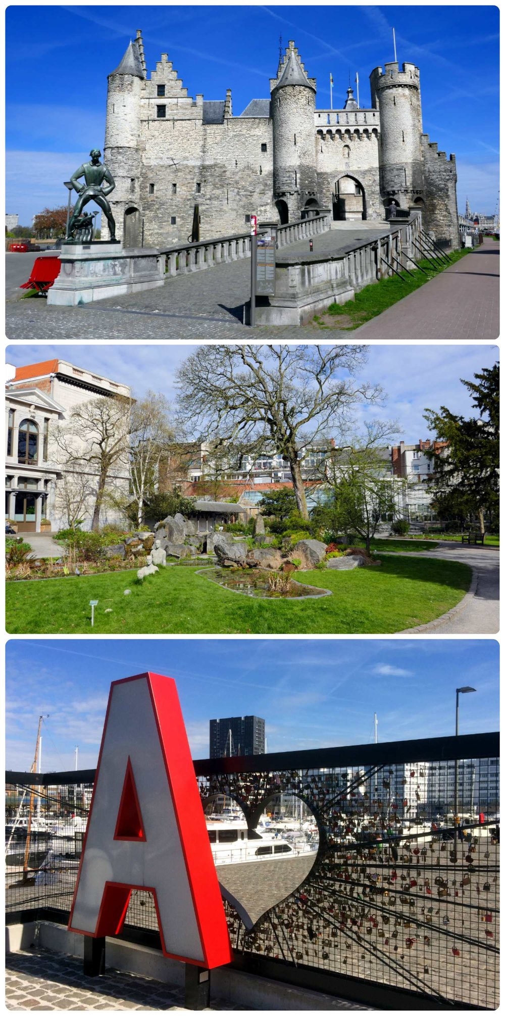 Antwerp, Belgium. Top to bottom: Steen Castle, Botanical Garden, Antwerp sign at Willemdok.