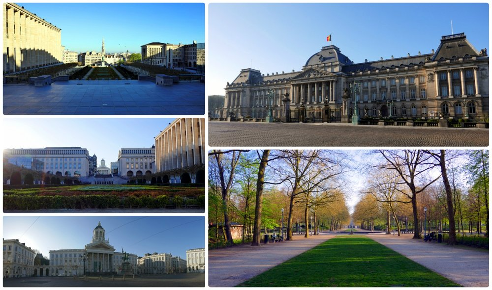 Clockwise: Mont des Arts, the Royal Palace,  view of Brussels Park across the street from the Royal Palace, panorama of Royal Square, the opposite view of Mon des Arts.
