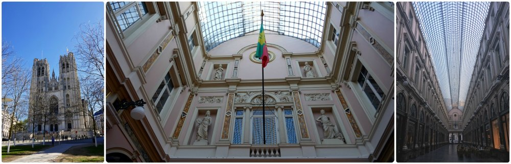 Left to right: Outside St. Michael and St. Gudula Cathedral, the Belgium flag hanging in Les Galeries Royales Saint-Hubert, an upwards view of the ceiling of the gallery.