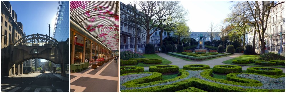 Left to right: Walking from attraction to attraction, we saw many things that weren't on our itinerary, like the bridge on Rue Belliard, while walking to a metro station in city center we stopped when we noticed the colorful ceiling of Galerie Ravenstein, views of Jardin du Petit Sablon.