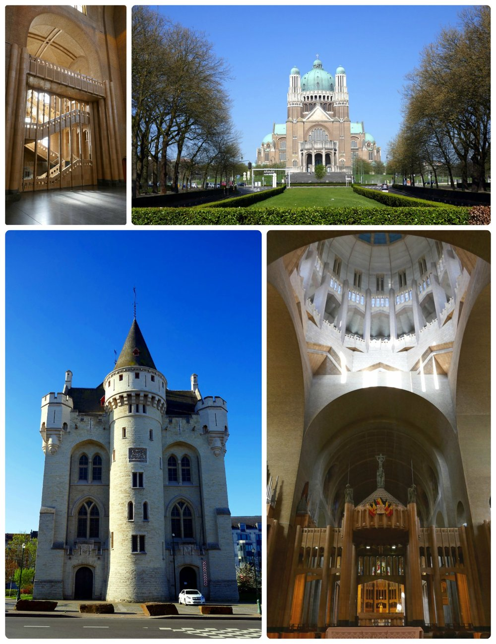 Clockwise: Staircase inside of National Basilica of the Sacred Heart, walking up to the National Basilica of the Sacred Heart is stunning with the park and walkway in front of it, inside the National Basilica of the Sacred Heart and view of the dome, exterior of Halle Gate.