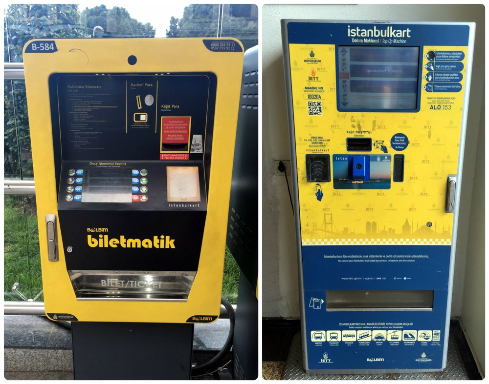 Refill your Istanbul card on the Biletmatik machine or the Istanbulkart. Purchase the Istanbulkart on the older, blue and yellow Istanbulkart machine (shown in right image).
