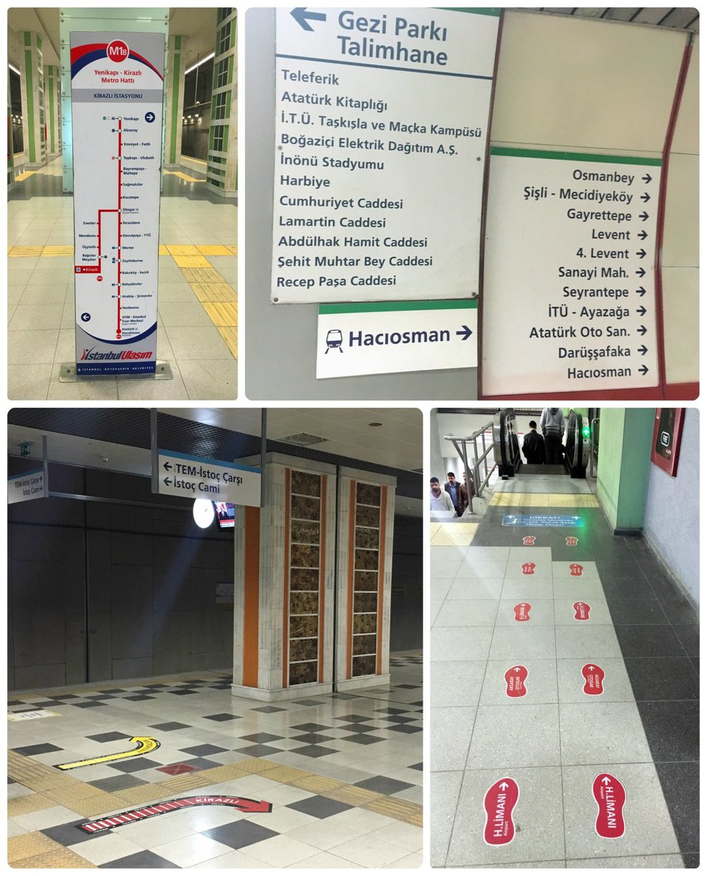 Top: Route maps for different lines are located throughout the station and are color coded to match the color of the line. Bottom: In large stations, footprints and arrows indicated the direction to go, to get to the correct platform.