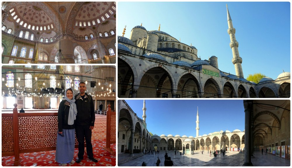 Clockwise: The ceiling of the Blue Mosque, the exterior and side of the Blue Mosque taken from the courtyard, a panoramic of the courtyard, us inside the Blue Mosque.