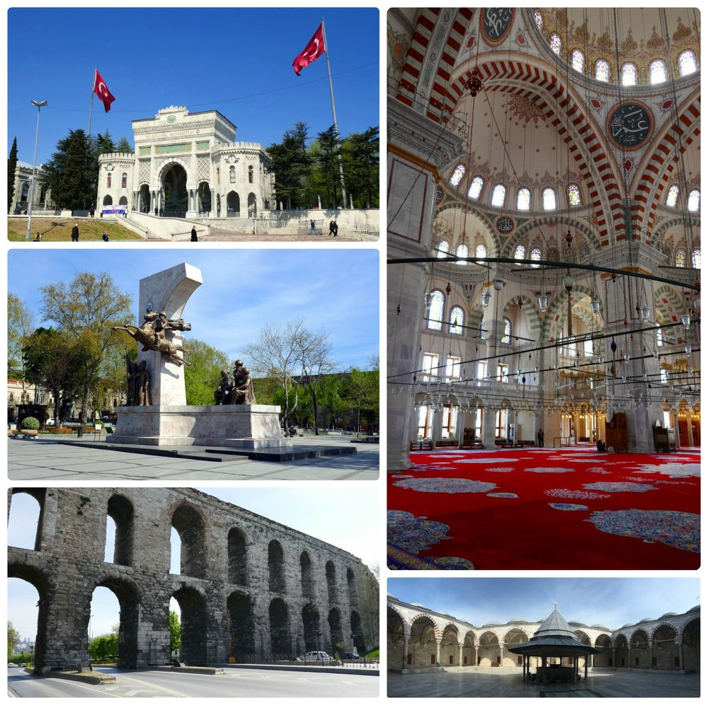 Clockwise (from the top): Beyazıt Square and the entrance to Istanbul University, interior of the Fatih Mosque, courtyard of the Fatih Mosque, Valens Aquaduct, The Conqueror´s Monument in Fatih Anit Park that's in front of Valens Aquaduct.