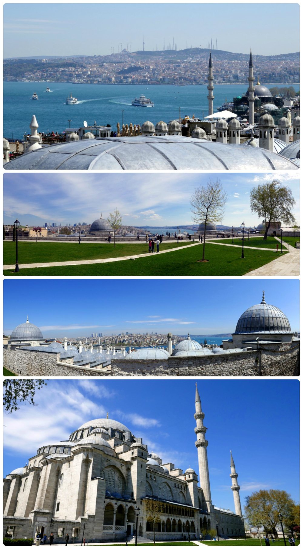 All images taken at Süleymaniye Mosque. Top to bottom: The Bosphorus from the rear of the mosque, the grass and pathways behind the mosque, looking out over the wall to the Golden Horn and the Bosphorus, the rear exterior of the mosque.