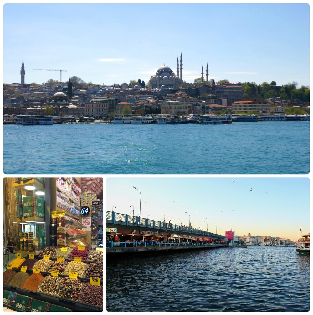 Clockwise (from the top): The New Mosque seen from the Golden Horn, Galata Bridge, spices at the Spice Bazaar.