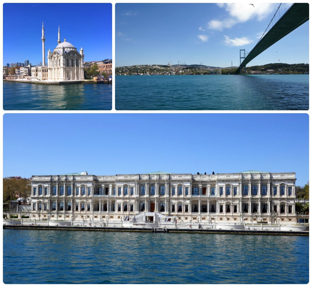 Clockwise (from the top): Ortaköy Mosque, under the Bosphorus Bridge, Çırağan Palace.